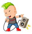 a boy dressed as a rockstar singing vector image