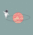 astronaut walks around the ring of saturn vector image vector image