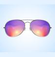 aviator sunglasses background sunset vector image