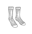 Black textile socks hand drawn ink drawing