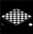 Board game checkers Isometric view vector image vector image