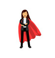 business woman with red superhero cloak standing vector image