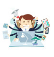 busy tired angry businessman multitasking at desk vector image vector image