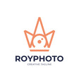 camera shutter photography with royal crown logo vector image vector image