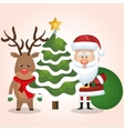 chrsitmas card santa deer and tree with bag gift vector image vector image
