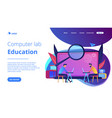 computer lab education landing page vector image