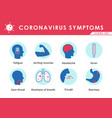 coronavirus covid19-19 or 2019-ncov symptoms icons vector image