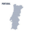 dotted map of portugal isolated on white vector image vector image