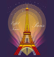 eiffel tower in different colors vector image vector image