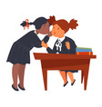 female friends gossiping in school pupils at desk vector image