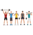 Fitness men male in gym set Healthy lifestyle vector image vector image