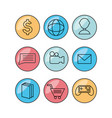 flat set icon social media and app vector image