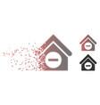 fragmented pixel halftone deduct building icon vector image vector image