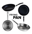 frying pan kitchen utensil collection set vector image vector image