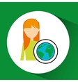 girl concept ecological globe vector image