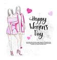 happy women day greeting poster background card vector image