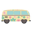 hippie van with floral print icon vector image vector image