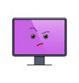 incredulous face on computer screen emoticon vector image vector image