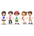 Kids holding the PEACE letters vector image vector image