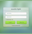 Login screen green online user web page vector | Price: 1 Credit (USD $1)