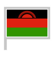 malawi flag on flagpole icon vector image vector image