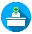 Medical Bureaucrat Flat Round Icon with Long vector image
