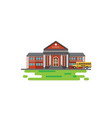 modern school building with school bus vector image vector image