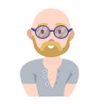 modern young man with a beard and round glasses in vector image vector image