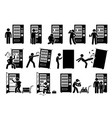 people with vending machine pictogram depicts a vector image vector image