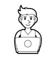 Person desk silhouette vector image
