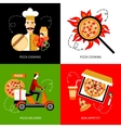 Pizza delivery 4 flat icons square vector image vector image