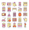 Professional kitchen equipment icon set in colored