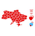 romantic ukraine map with crimea mosaic of vector image
