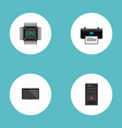 set of computer icons flat style symbols with cpu vector image