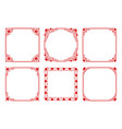 set of square frames with hearts flourishes vector image