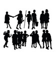 silhouettes play together at school vector image vector image