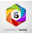 Six number colorful logo in the hexagonal on black vector image vector image