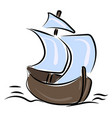 small boat drawing on white background vector image vector image