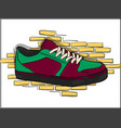 sneakers for skateboarding purple-green on lacing vector image