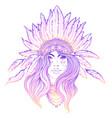 tribal fusion boho diva black and white vector image vector image