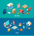 two mail isometric banner set vector image vector image