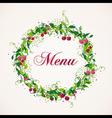 Vintage cherry plant wreath menu background vector image