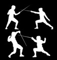 white silhouette of swordsmen on a black vector image vector image