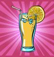 yellow beverage juice lemonade with lemon vector image