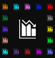 histogram icon sign Lots of colorful symbols for vector image