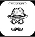 steampunk hat glasses and a mustache hand vector image