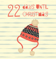 22 days until christmas hat vector image vector image
