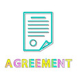 agreement template document colorful poster vector image