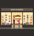 bags and shoes shop with glassware showcase vector image