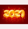 balloons numbers 2021 on red festive background vector image